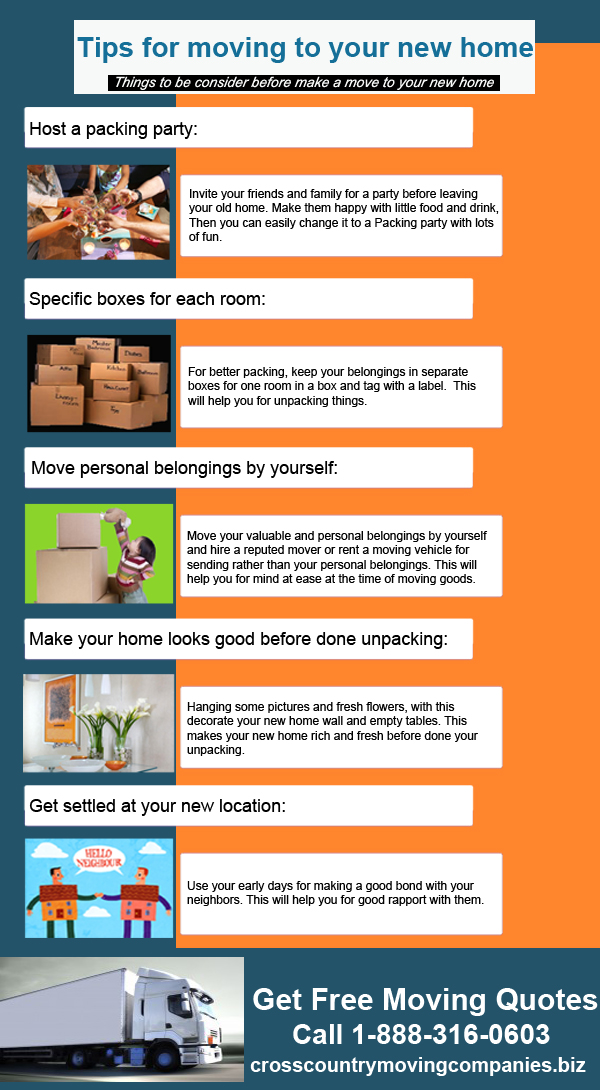 Tips For Moving To New Home Infographic